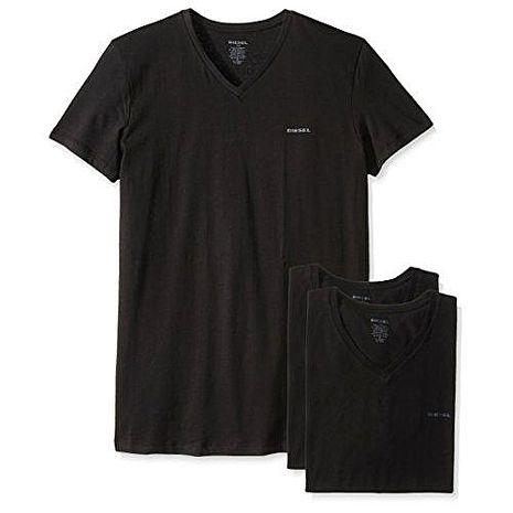 【Diesel】2018男時尚Jake黑色V領短袖內衣3件組(預購)L