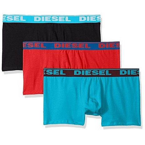 【Diesel】2018男彈力棉Shawn黑紅松綠四角內著混搭3件組(預購)XL