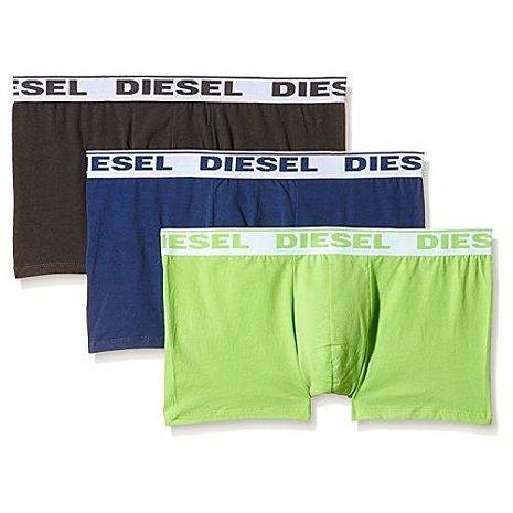 【Diesel】2018男彈力棉Shawn黑藍綠紅四角內著混搭3件組(預購)M
