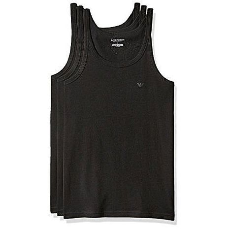 【EMPORIO ARMANI】2018男時尚標誌款黑色背心3件組(預購)