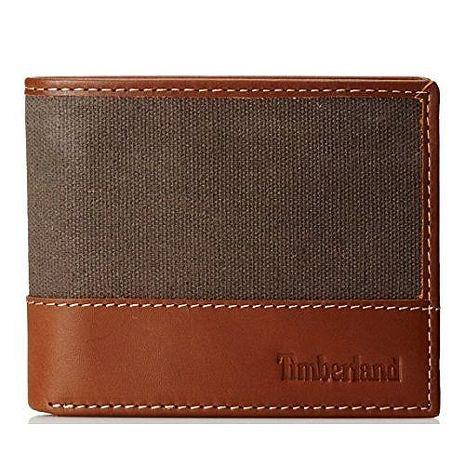Timberland 2018男時尚木炭褐帆布皮革色塊雙折皮夾★預購