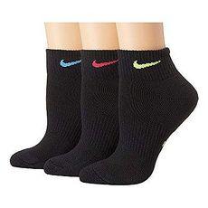 Nike 2018女時尚彩色標誌黑色運動短襪3入組★預購