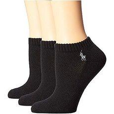 Ralph Lauren 2018女馬球腳踝網格面黑色短襪3入組(預購)