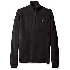 US Polo 2018男時尚馬球炭黑色1/4拉鍊長袖套衫★預購