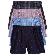 Ralph Lauren 2018男超軟輕質棉黑粉藍色平口角內著混搭4件組(預購)