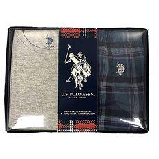 US Polo 2018男小馬球法蘭絨灰松綠格子長袖睡衣套組★預購
