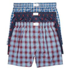 【Tommy Hilfiger】2018男時尚藍紅色標格平口內著混搭3件組★預購