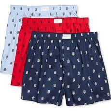 【Tommy Hilfiger】2018男標誌印製雙藍紅色平口內著混搭3件組★預購