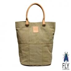 【Fly London 】SIX PIECES FLY水洗帆布牛皮手提長袋 - 貝殼沙