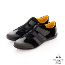 Travel Fox(男) SMART-智慧創意 反毛皮雙色雙料側黏休閒鞋 - 黑