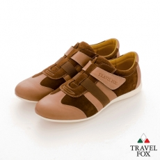 Travel Fox(男) SMART-智慧創意 反毛皮雙色雙料側黏休閒鞋 - 棕