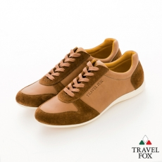 Travel Fox(男) SMART-智慧創意 反毛皮雙色雙料綁帶休閒鞋 - 棕