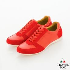 Travel Fox(男) SMART-智慧創意 反毛皮雙色雙料綁帶休閒鞋 - 紅