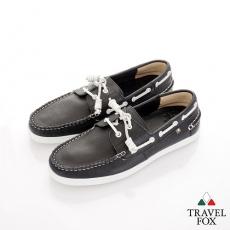 Travel Fox(男) STYLE-風格流行 素面牛皮帆船鞋 - 黑