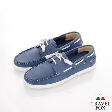 Travel Fox(男) STYLE-風格流行 素面牛皮帆船鞋 - 藍
