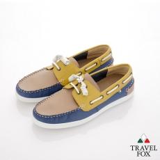 Travel Fox(男) STYLE-風格流行 撞色牛皮帆船鞋 - 藍綠米
