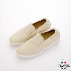 Travel Fox(男) STYLE-風格流行 後跟鬆緊羊皮懶人鞋 - 米