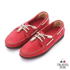 Travel Fox(女) STYLE-風格流行 三角楦經典反毛帆船鞋 - 白線紅