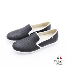 Travel Fox(男)Smart網眼描線超彈力懶人休閒鞋 - 平實黑