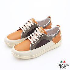 Travel Fox(男)球場風情撞色休閒板鞋 - 綠棕米