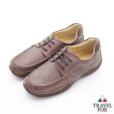 Travel Fox(男)Smart工作狂專屬三眼牛皮休閒鞋 - 淺棕