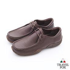 Travel Fox(男)Style小日子極簡雙眼牛皮休閒鞋 - 無憂咖