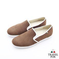 Travel Fox(男)Smart網眼描線超彈力懶人休閒鞋 - 巴戈咖