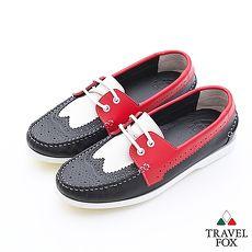 Travel Fox(男)Style英倫情牛津雕花三色牛皮帆船鞋 - 白紅黑44