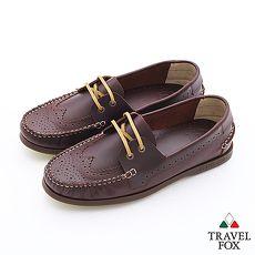 Travel Fox(男)Style英倫情牛津雕花三角楦帆船鞋 - 大學咖