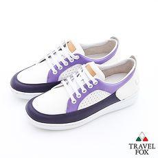 Travel Fox(女)球場風情撞色休閒板鞋 - 茄紫白