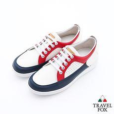 Travel Fox(女)球場風情撞色休閒板鞋 - 藍紅白