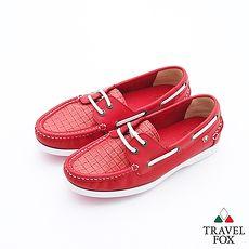 Travel Fox(女)Style夏的編織三角楦雙眼帆船鞋 - 陽光紅38