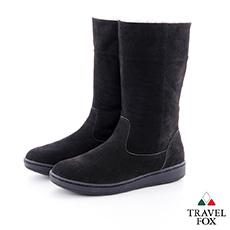 Travel Fox(女)數著下雪的日子 超軟羊皮可翻領半筒雪靴 - 絕色黑38