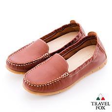 Travel Fox(女)放輕鬆 180度超柔軟鬆緊帶登機鞋 - 特別棕