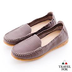 Travel Fox(女)放輕鬆 180度超柔軟鬆緊帶登機鞋 - 簡單灰