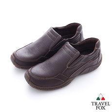 Travel Fox(男) 有點意思的機能高底?直套休閒鞋 - 深咖
