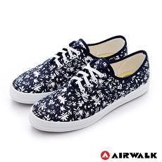 AIRWALK(女) - 復古花絮紛飛 純棉帆布鞋 - 青布藍7.5