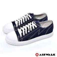 AIRWALK(男) - 復古圓頭低筒基本款帆布鞋 - 牛仔藍