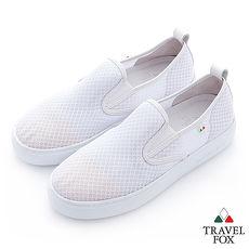 Travel Fox(女)輕快的 網紋透氣直套懶人鞋 - 白