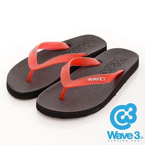 WAVE 3 (男) - 看見你 果凍透視感人字夾腳拖鞋 - 紅帶黑