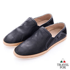 Travel Fox select(男) 文學家 網眼皮革舒適懶人鞋- 風采墨黑