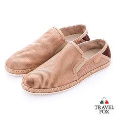 Travel Fox select(男) 文學家 網眼皮革舒適懶人鞋- 隨性淺棕44