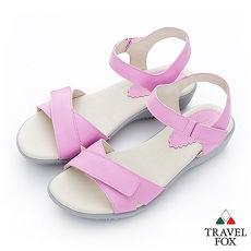 Travel Fox(女)Candy 一字雙黏帶涼鞋- 粉
