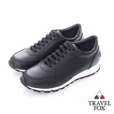 Travel Fox (男)- 光采 全牛皮拋光都會慢跑運動鞋- 黑