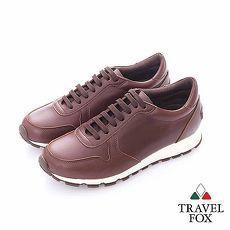 Travel Fox (男)- 光采 全牛皮拋光都會慢跑運動鞋- 咖
