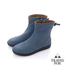 Travel Fox (女) 自在 反毛皮素色短靴-湖藍