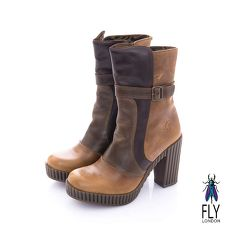 Fly London(女) 奧式優雅 雙料拼接牛皮高跟中筒靴-第凡咖