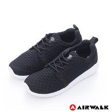 AIRWALK(男)- 比麗 蜂巢式格紋洞洞休閒慢跑鞋 - 嗡嗡黑9.5