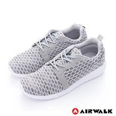 AIRWALK(男)-比麗 蜂巢式格紋洞洞休閒慢跑鞋 - 嗡嗡灰10.5