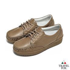 Travel Fox(女) - 午後散步 超軟牛皮舒適熟齡綁帶旅狐休閒鞋 - 3點棕